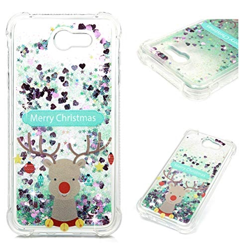 Price comparison product image Galaxy J7 Case,  J7 2017 Case,  Christmas Series Liquid Glitter Case Cover Sparkle Love Heart Clear TPU Shockproof Bumper ZSTVIVA Samsung Galaxy J7 2017- Christmas Deer