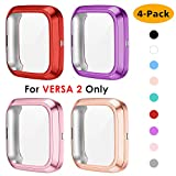 NANW 4 Packs Screen Protector Compatible with Fitbit Versa 2, Ultra Slim Soft Full Cover Case Bumper Frame Accessories Compatible with Fitbit Versa 2 Smartwatch