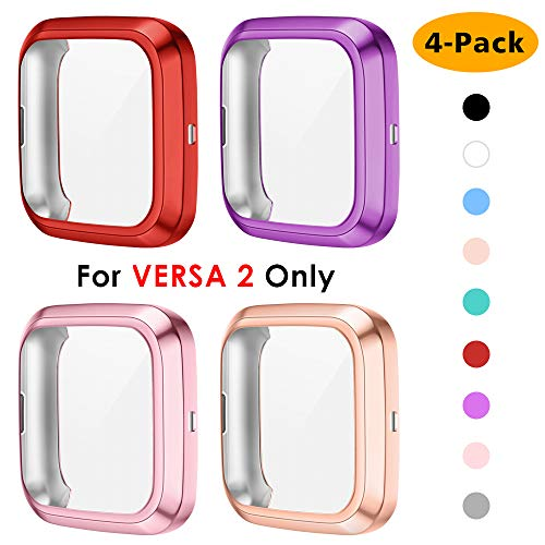 NANW 4 Packs Screen Protector Compatible with Fitbit Versa 2, Ultra Slim Soft Full Cover Case Bumper Frame Accessories Compatible with Fitbit Versa 2 Smartwatch from NANW
