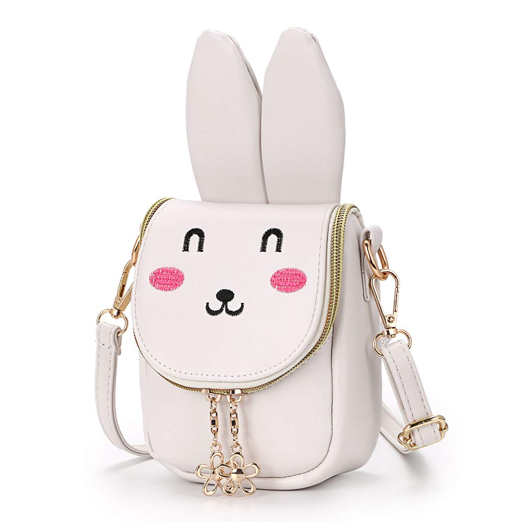 Amazon.com  Hipiwe Little Girl Purse Cute PU Leather Bunny Ears Purse Fashionable  Kids Handbag Crossbody Bag Toddlers Shoulder Bags with Bowknot for ... 60e283ca8eb8