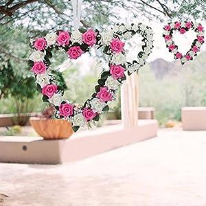 Lanlan Heart Rose Wreath for Wedding Decorations Home Decorations Door Decorations Living Room Hanging Flower White-purple 1PCS 5