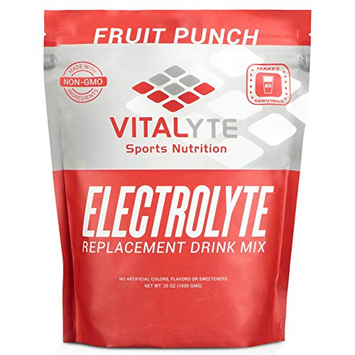 Vitalyte Electrolyte Powder Sports Drink Mix, 80 Servings Per Container, Natural Electrolyte Replacement Supplement for Rapid Hydration & Energy - Fruit Punch