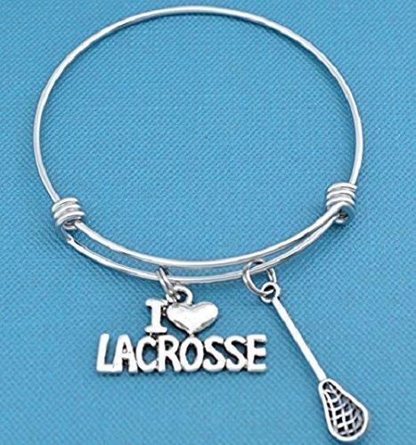 I Love Lacrosse bracelet in stainless steel with silver toned metal lacrosse stick and I love lacrosse charm in silver metal. Lacrosse jewellery. Lacrosse bracelet. – DiZiSports Store