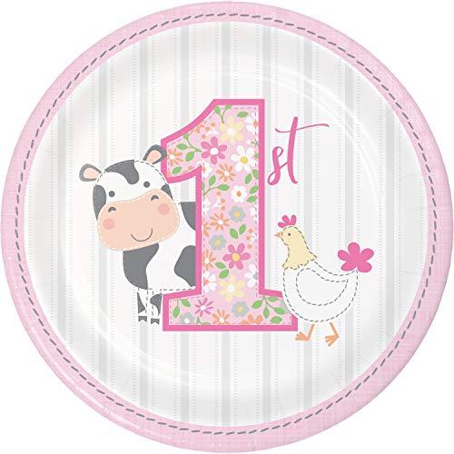 Farmhouse 1st Birthday Girl Dessert Plates, 24 ct ()