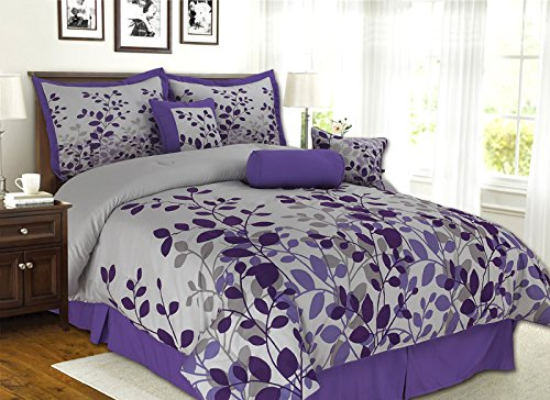 7 Piece Purple, Lavender, Grey Flocking Comforter Set Vine Bed In A Bag King Size Bedding