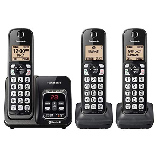 - Panasonic KX-TG833SK Link2Cell Bluetooth with Talking Caller ID 3 Handset Cordless Phone (Renewed)