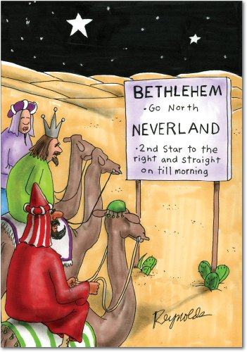 B1277 Box Set of 12 Neverland Three Wise Men Hilarious Christmas Paper Cards with - Christmas Wise Men Cards Three