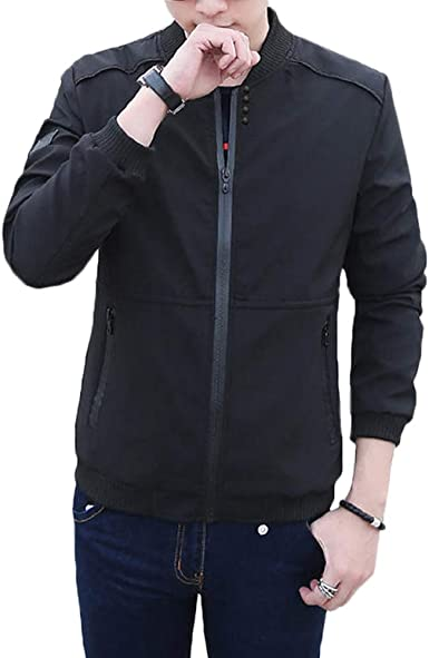 Cotrasen Mens Winter Jacket Casual Thicken Bomber Jacket with Zipper Pockets