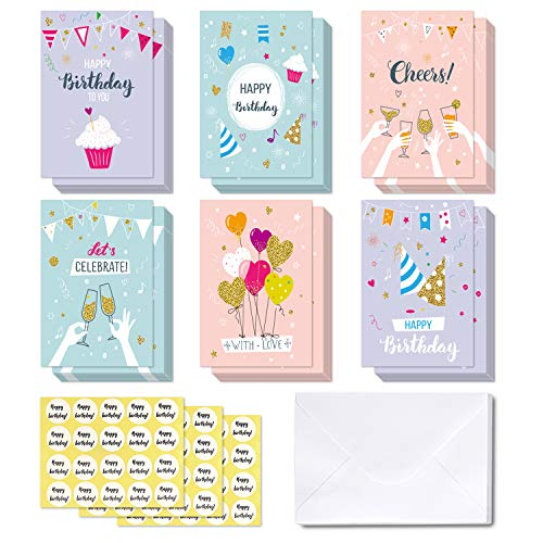 48-pack Happy Birthday Cards, Ohuhu Folded Card for Kids Birthday, Blank Inside Greeting Note Cards W/White Envelopes and Stickers, 4x6 inch, Balloon, Cake, Pink, Purple, Blue Designs Card Stocks