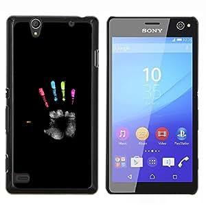 Caucho caso de Shell duro de la cubierta de accesorios de protección BY RAYDREAMMM - Sony Xperia C4 - negro colores héroe palma pintura profunda
