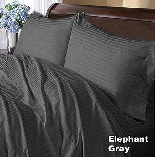 1000 Thread Count Nicely Fab RV Short Queen ( Size ) 100% Egyptian Cotton Flat / Top Sheet With Extra 2 PC Pillow Cases All Heavy Colors Striped ( Elephant Grey ) By Galaxy's Linen