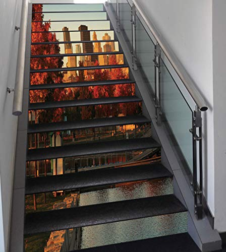 Stair Stickers Wall Stickers,13 PCS Self-adhesive,City,Old Port of Montreal Early in the Morning Scenic Autumn Trees Buildings Canada,Red Orange Brown,Stair Riser Decal for Living Room, Hall, Kids Roo (Hall City Canada)