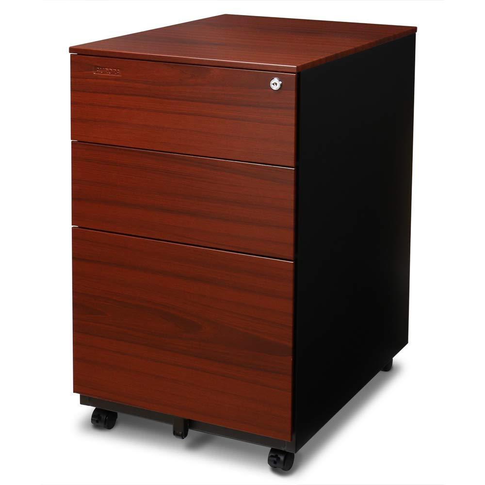Aurora FC-103RT Modern Soho Design 3-Drawer Metal Mobile File Cabinet with Lock Key/Fully Assembled, Metallic Charcoal/Red Teak