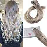 Cheap Moresoo 24 Inch 20pcs/50g Tape in Hair Ash Blonde to Bleach Blonde 613 Highlighted with Ash Blonde Remy Human Hair Balayage Colored Invisible Adhesive Hair Extensions