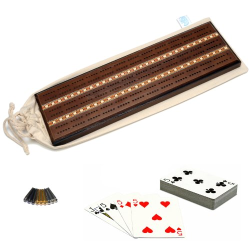 Cribbage Oak Board - WE Games Deluxe Cribbage Set - Solid Oak Wood with Dark Stain with Inlay Sprint 3 Track Board with Easy Grip Pegs, Deck of Cards & Canvas Storage Bag