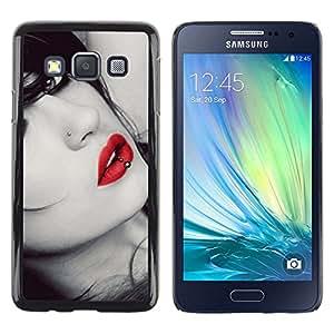 TECHCASE**Cubierta de la caja de protección la piel dura para el ** Samsung Galaxy A3 SM-A300 ** Lips Sensual Woman Lady Girl Sexy Red Gaze