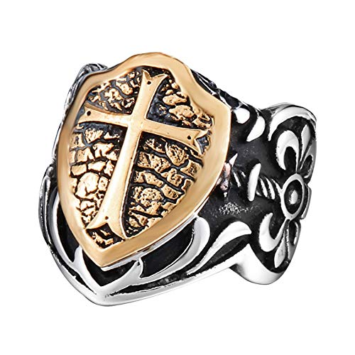 (LILILEO Jewelry Titanium Steel Retro Carved Inlaid Copper Cross Shield Ring for Men's Rings)