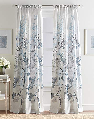 - CHF Daphne Floral Print Medium Weight Rod Pocket Window Curtain Panel, 50W x 84L, Blue