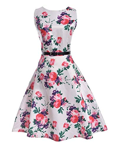 228e8fee96f Image Unavailable. Image not available for. Color  XuBa Spring Summer Dress Women  Clothing Vintage Floral Printed Dress Plus Size ...