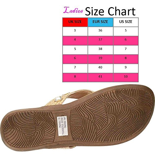 Dunlop Ladies Flip Flops Toe Post Slip On Flat Sandals Gold az7rmFfQ