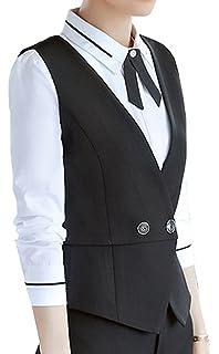 0318f325854 Vocni Women Slim Fit V-Neck Lined Business Economy Suit Vest Dressy  Waistcoat