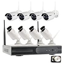 Vcamdo 8 Channel Outdoor waterproof Home Wireless WiFi 720P 1MP Indoor Outdoor IP Camera Surveillance Security System Night Vision Smart Cell Phone Remote View 4TB HDD Hard Drive for hospital