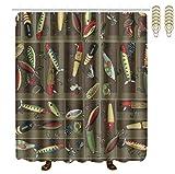Fishing Lure Shower Curtain Hooks OKAYDECOR Mildew Resistant Bath Curtain with Hooks - Vintage Fishing Lure Style Shower Curtains - Waterproof Polyester Fabric Bathroom Decor - 72