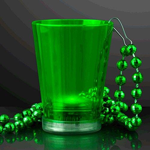 blinkee Light Up Green Shot Glass on Green Beaded Necklaces -