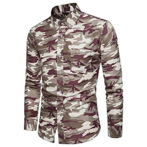 Cuff Flutter (Clearance Sale Men Shirts vermers Men's Casual Camouflage Print Pullover Long Sleeve T-Shirt Top Blouse(L, Gray))