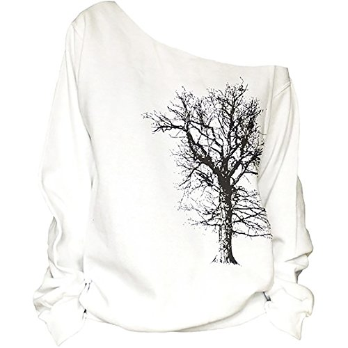 QZUnique Women's Digital Print Long Sleeve Strapless Pullover Fleece Sweatshirt Feather White Shoulder Fleece Sweatshirt