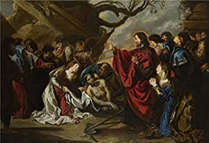 Oil painting 'Simon de Vos The Raising of Lazarus ' printing on Perfect effect canvas , 16 x 23 inch / 41 x 59 cm ,the best Kitchen decoration and Home artwork and Gifts is this Amazing Art Decorative Canvas Prints