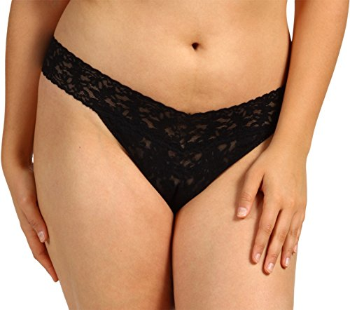 Hanky Panky Women's Plus-Size Original Thong Panty, Black, One Size