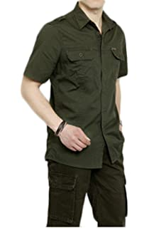 Insun Mens Solid Breathable Short Sleeve Button Down Shirt