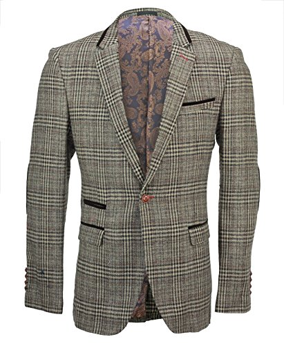 XPOSED Mens Tweed Brown Checked Designer Vintage Elbow Patch Suit Jacket Fitted Blazer[50]