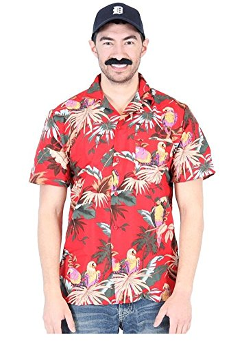 Jungle Bird Magnum PI Tom Selleck Red Costume Shirt and Hat (Adult (Jungle Bird)