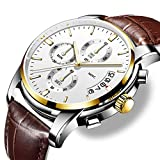 Mens ClassicLeather Quartz Watches, Analog QuartzWatches Men Date Business Dress Wristwatch Men's Waterproof Sport Clock