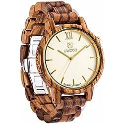 Uwood Luxury Brand Zebra Men's Sandal Wooden Watch Mens Swiss Movt Quartz Analog Watch With Bamboo Gift Box (Yellow)