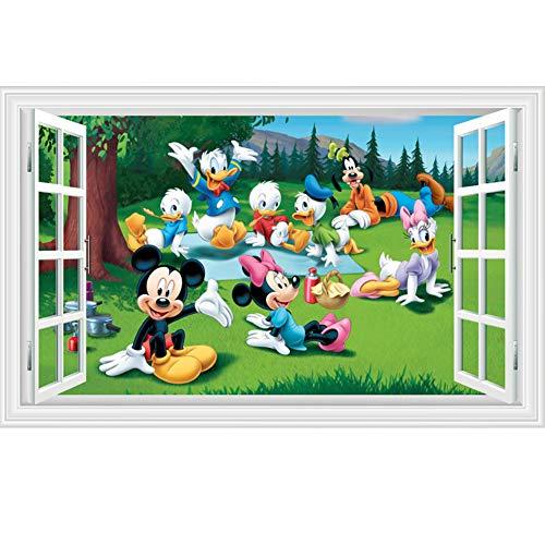 Fangeplus(TM DIY Removable 3D Window View Disney Cartoon MickeyMouseandDonaldDuck Art Mural Vinyl Waterproof Wall Stickers Kids Room Decor Nursery Decal Sticker Wallpaper 35.4''x23.6''