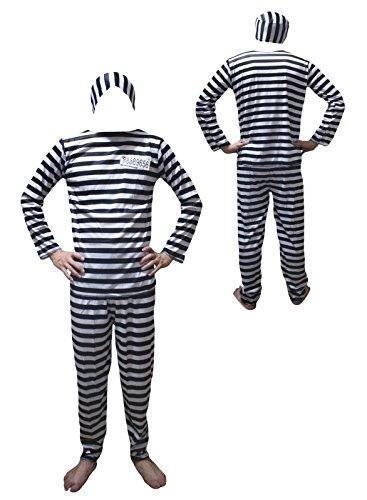 Petitebella Halloween Costume Black White Prisoner Party Dress Up for Men (One (Male Slave Halloween Costume)
