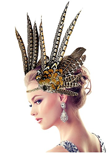 (L'VOW Indian Feather Headdress Hairband Headband for Halloween Cosplay Fancy)