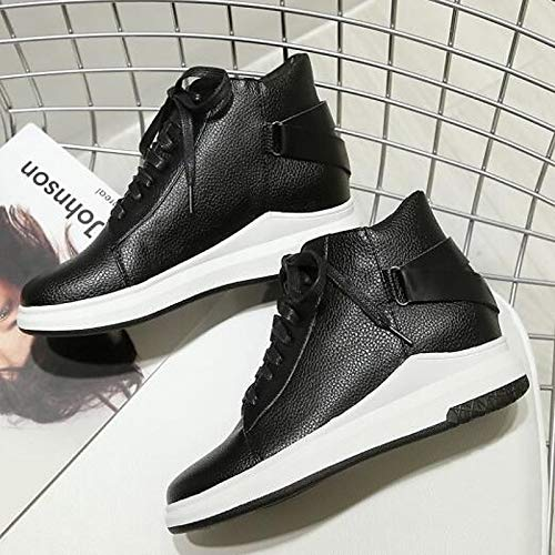 ZHZNVX Zapatos de Mujer PU (Poliuretano) Winter Comfort Sneakers Platform Round Toe Black Black