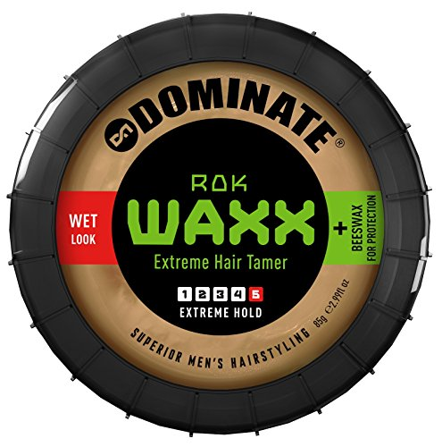 Dominate Rok Waxx Hair Styling Wax With Beeswax, Salon Series, Extreme Hair Hold With A Defined Wet Look, 85g (3 oz)
