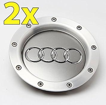 Ug 2 x Tapacubos Tapones Repuesto de 146 mm para Audi Color Gris Aluminio - Para Tachuelas Círculos Aleación: Amazon.es: Coche y moto