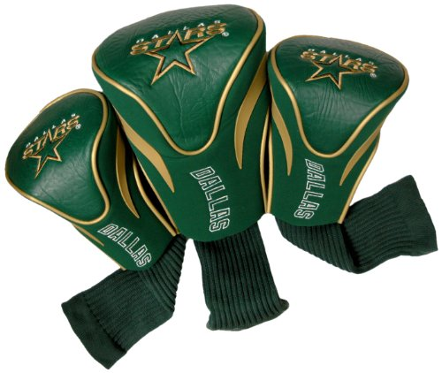 Team Golf NHL Dallas Stars Contour Golf Club Headcovers (3 Count), Numbered 1, 3, & X, Fits Oversized Drivers, Utility, Rescue & Fairway Clubs, Velour lined for Extra Club Protection