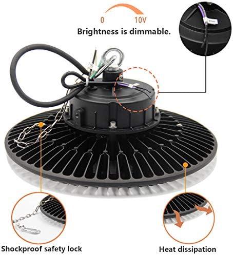 Sylstar UFO LED Hallenstrahler, 150W 6000K LED Hallenbeleuchtung 0-10V Dimmbare Industrielampe 140 lm/W Hallenbeleuchtung IP65 Hallenleuchten für Innen- und Aussenbereich, 5 Jahre Garantie