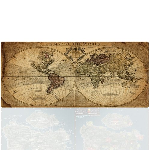 Big Map Us - Large Gaming Mouse Pad, Imegny World Map Extended Keyboard & Mouse Mat with Stitched Edges + Non-Slip Rubber Base