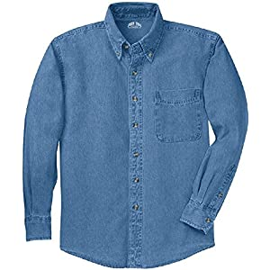 Joe's USA 6.5-Ounce Tall Long Sleeve Denim Shirts in Tall Sizes: LT-4XLT