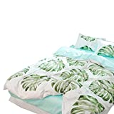 BHUSB Green Palm Tree Bedding Tropical Duvet Cover Set Green 100% Cotton Duvet Cover Kids Queen Palm Tree Leaf Bedding Sets Full Blue Reversible Bedding Collection for Kids Girls