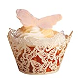 Paper Orchid Butterflies Cupcake Wrapper White, Set of 12