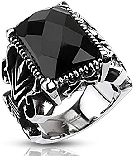 Rectangle Onyx Faceted Stone Set Gothic Ring 316L Stainless Steel (11)